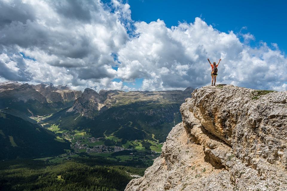 tourists walk around the mountainous areas